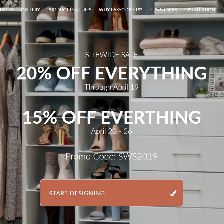 EasyClosets Sitewide Sale
